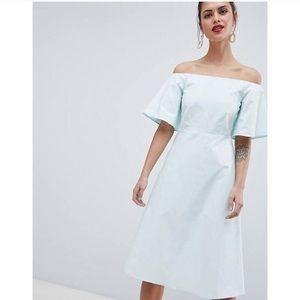 Asos mint midi off the shoulder dress